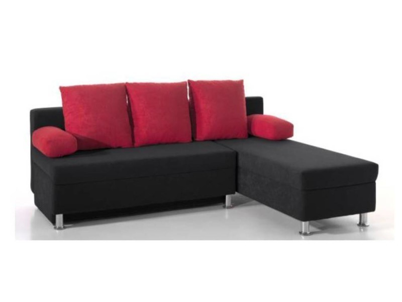 Canapé d'angle convertible zaurak en microfibre noire et rouge 20100865677