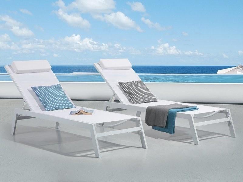 Transat de jardin inclinable en aluminium blanc catania ii 38769
