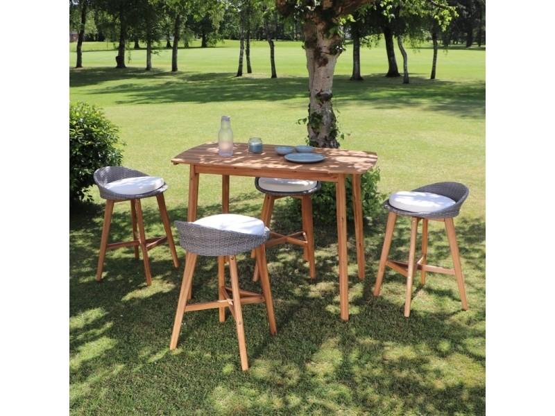 Salon de jardin haut en bois d\'acacia 4 places - Vente de Salon de ...