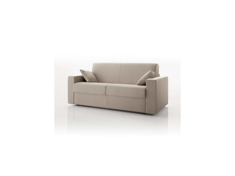 Canapé convertible 2 places, tissu déhoussable - ivoire