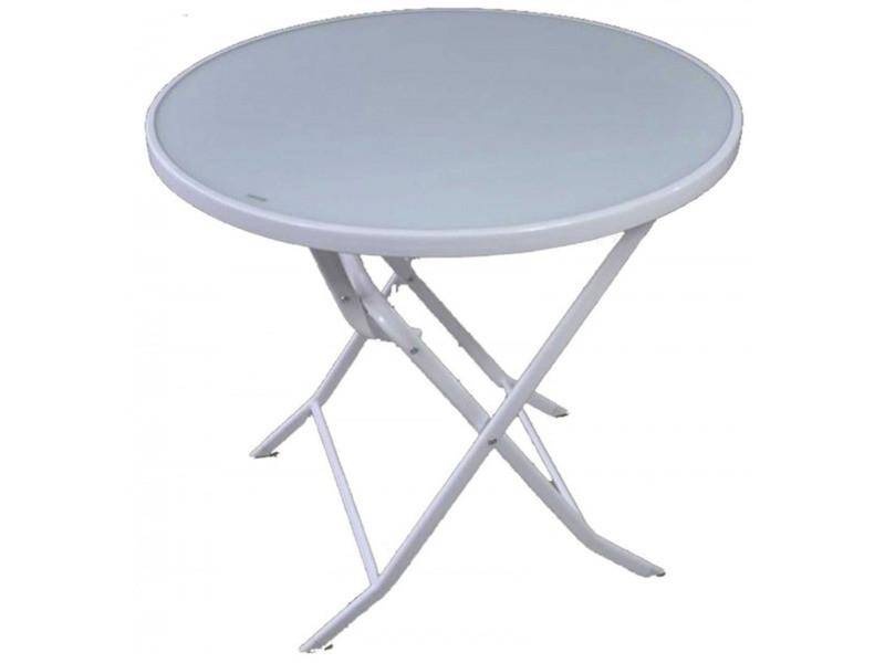 Table de jardin pliante en acier de couleur blanche - dim ...