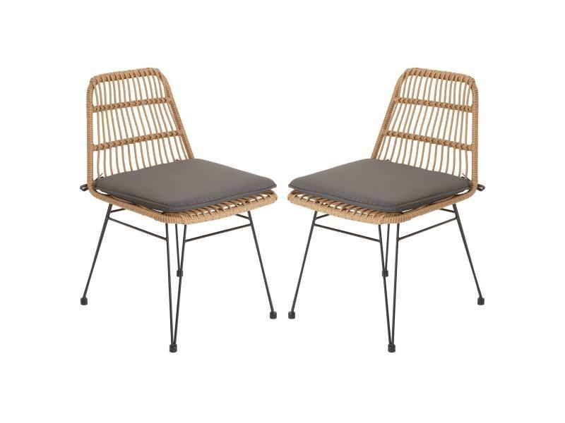 Lot de 2 chaises de jardin enjoy imitation rotin, fauteuil pour terrasse ou balcon en polyrattan résistant aux uv et métal noir