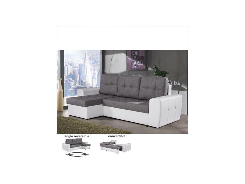 Canapé d'angle réversible et convertible gris et blanc - haidi