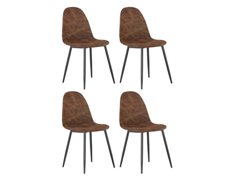 tissu chaises en manger Lot coloris 4 de et acier de à salle XOZiTkuPw