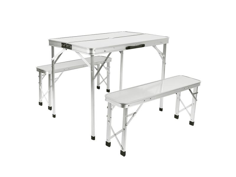 Hombuy®ensemble de table pliante d'extérieur blanc argenté avec 2 bancs