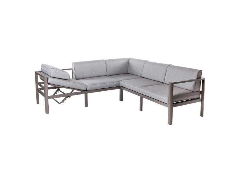 Canapé d\'angle d\'extérieur aluminium gris - flores - l 226 x l ...