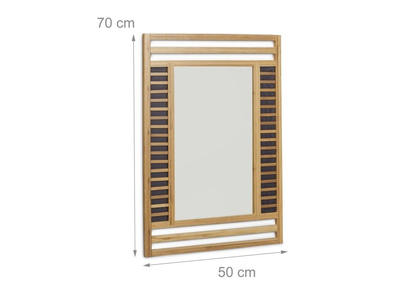 Miroir en bambou glace de salle de bain fixation murale 70 x 50 cm helloshop26 3213072 vente - Fixation miroir salle de bain ...