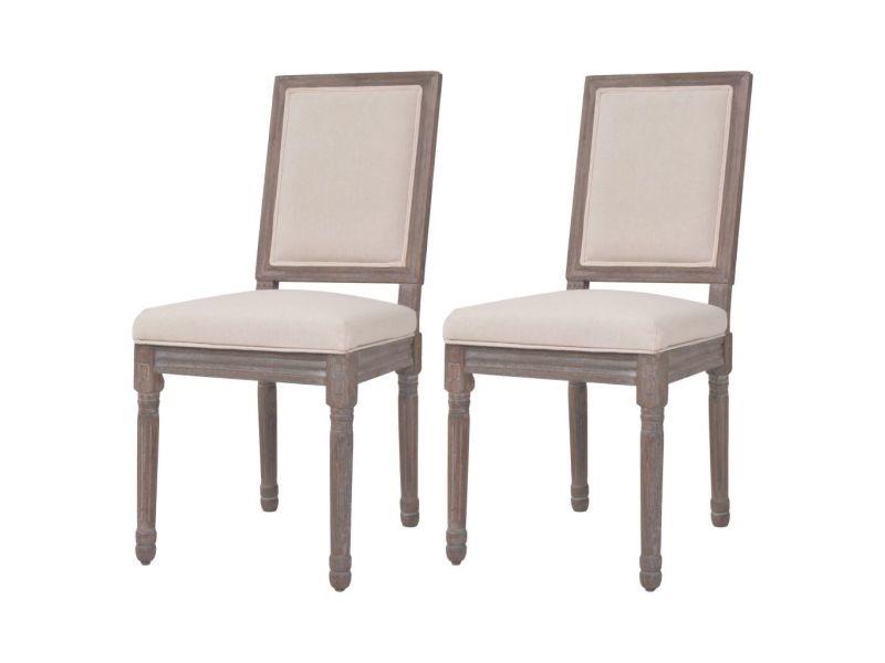 Vidaxl chaise de salle à manger 2 pcs lin 47 x 58 x 98 cm blanc crème 245353