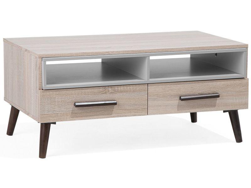 Table basse bois clair et grise alloa 111150