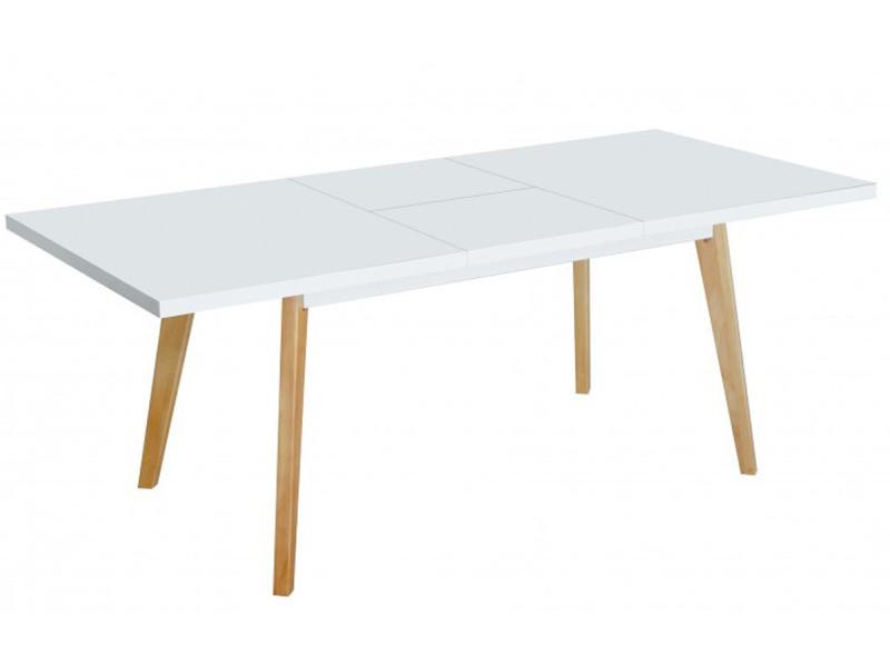 Table extensible en mdf et métal laqué blanc - dim : 140/180 x 90 x 75cm -pegane-