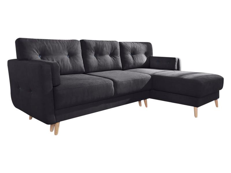 Canapé d'angle réversible convertible coffre copenhagen noir