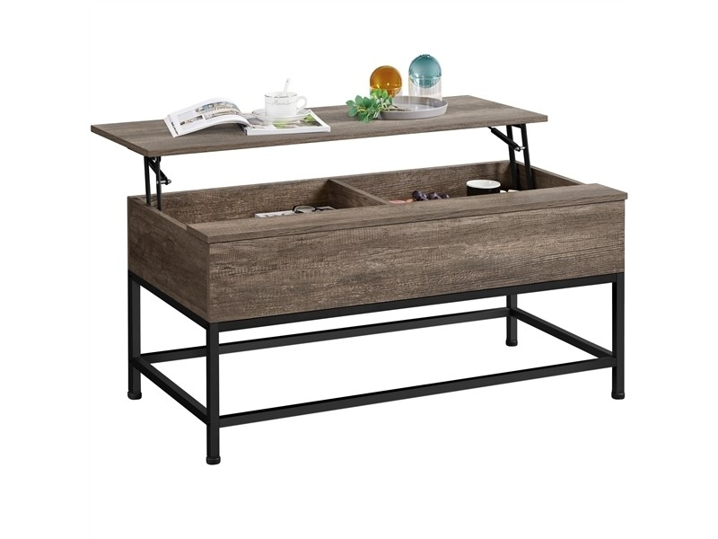 Yaheetech table basse de salon avec plateau relevable 102x51x48 cm bois taupe