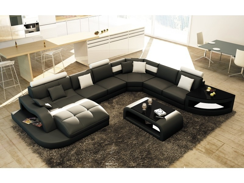Canapé d'angle design panoramique noir et blanc istanbul (angle gauche)-