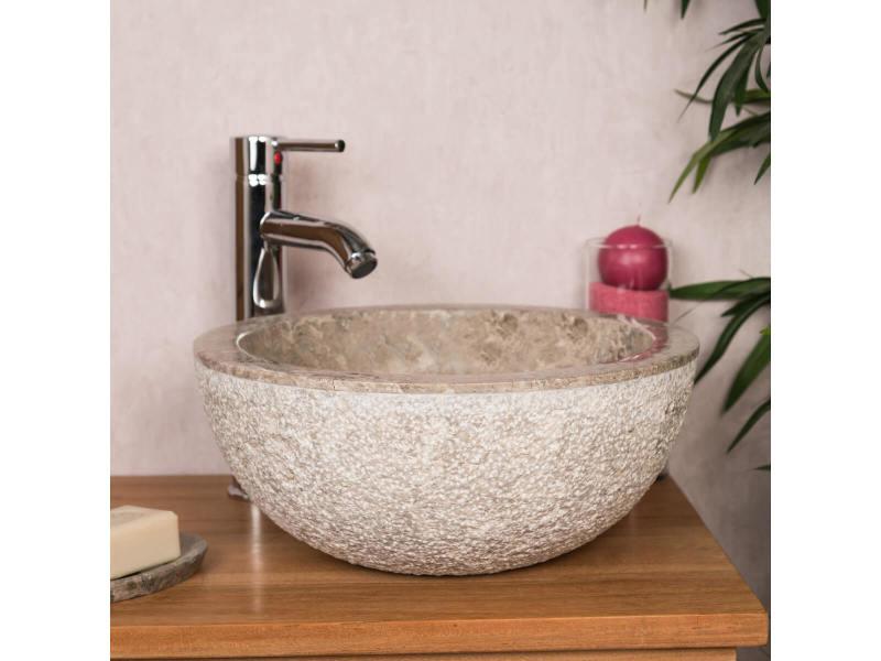 vasque lave main a poser Lave mains en marbre à poser stromboli gris taupe 35cm