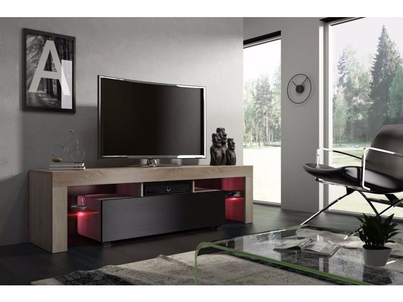 Meuble tv 160 cm chêne mdf et noir mat avec led