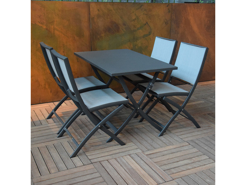 Table pliante rectangulaire en alu anthracite 110 x 70 cm ...