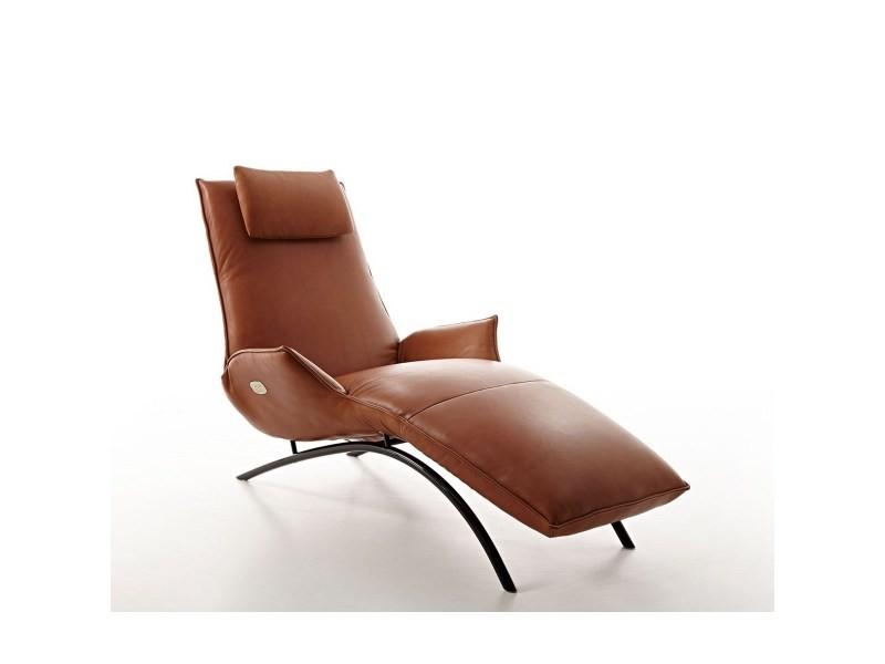 Chaise longue cuir brun électrique de relaxation massante madame day lounge