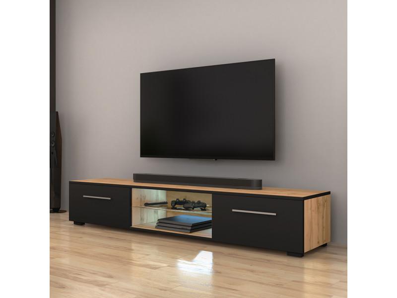 Meuble tv - edith - 140 cm - chêne wotan / noir mat - led
