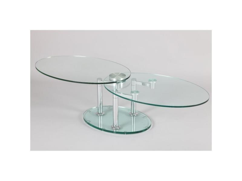Table à plateaux pivotants splash 2 verre et acier chromé 20100841328