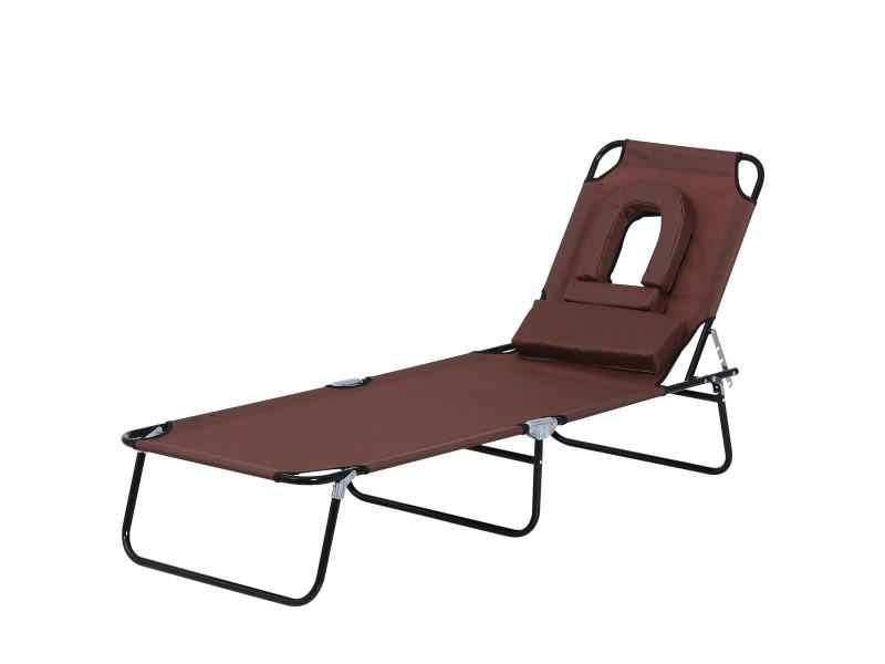 Bain de soleil pliable transat inclinable 4 positions chaise longue de lecture 3 coussins fournis marron