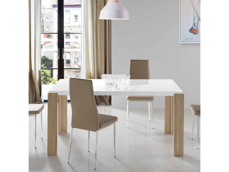 Table A Manger Moderne Blanc Laque Et Couleur Chene Clair