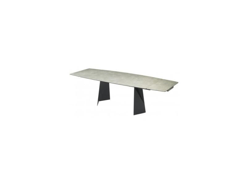 Table céramique aspect marbré gris opus 180-260 cm