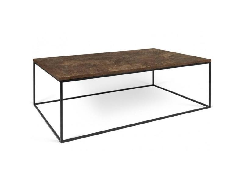 Table basse rectangulaire gleam 120 plateau design rustique structure laquée noir mat. 20100864895