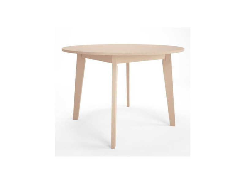 Naiss table a manger ronde 4 a 6 personnes style contemporain placage verni naturel - ø 110 cm