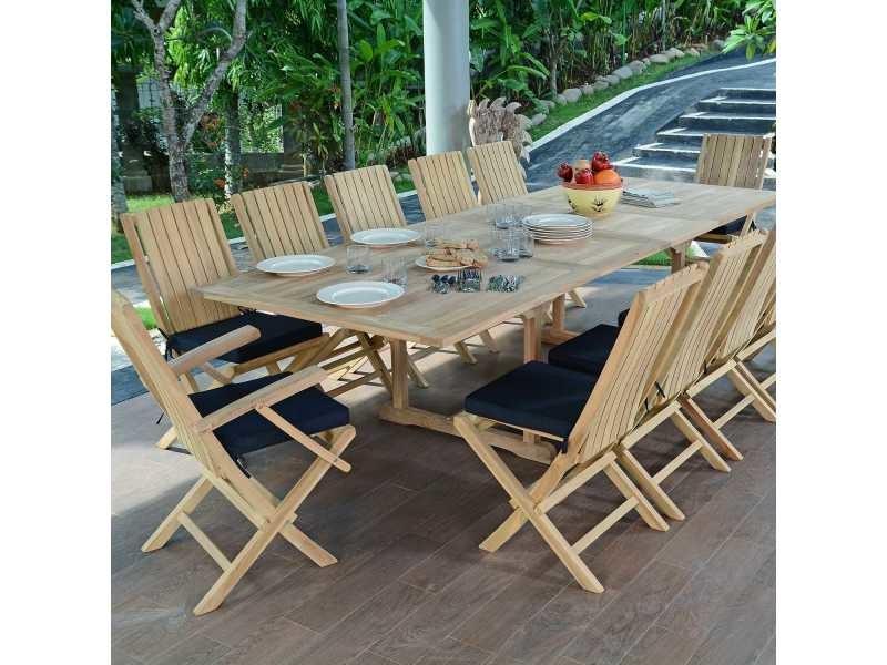 Salon de jardin en teck qualité ecograde malaga, 12 places ...