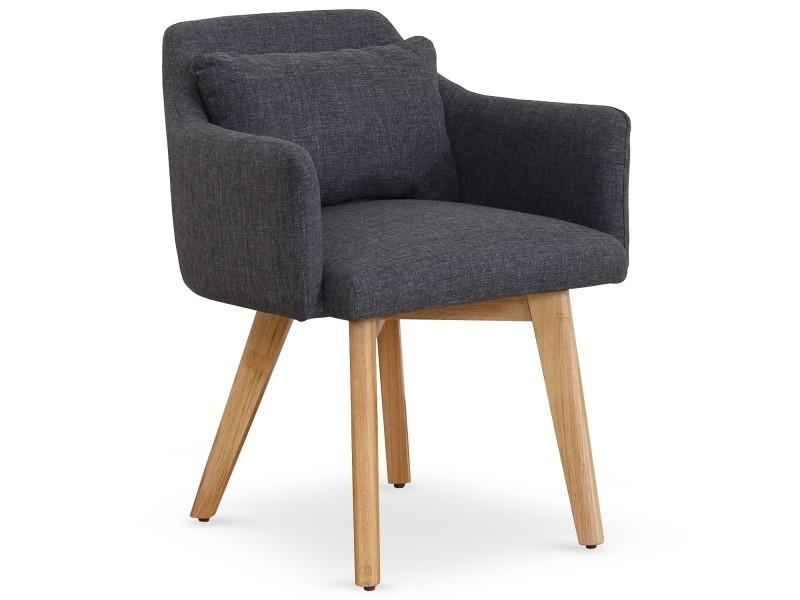 Chaise / fauteuil scandinave gybson tissu gris foncé