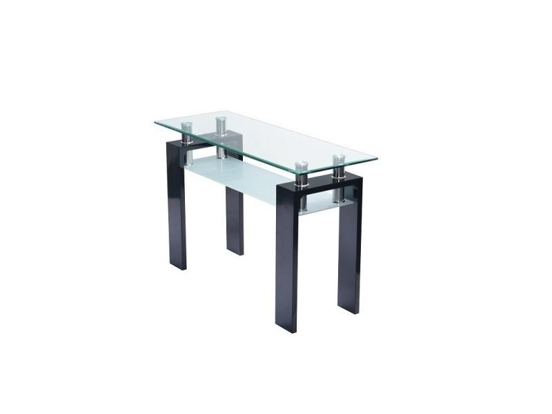 Table, console d'entrée plateau en verre et pieds noirs brillants laqués bari. Look moderne et design.