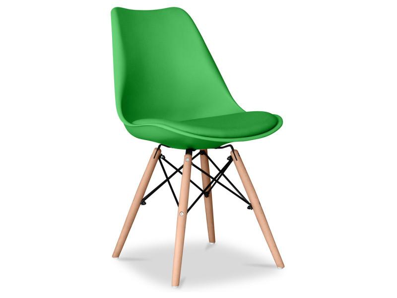 Chaise deswin avec coussin vert
