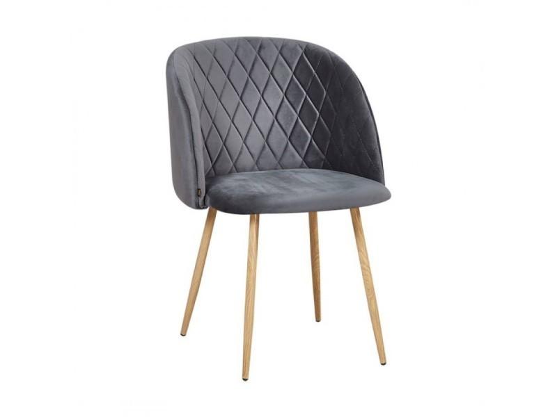 Chaise en velours gris anthracite makro - gris