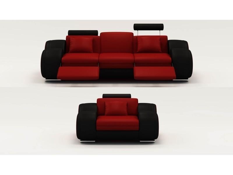 Ensemble cuir relax oslo 3+1 places rouge et noir-