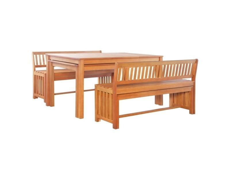 Vidaxl mobilier de jardin 6 pcs bois d\'eucalyptus massif 44402 ...