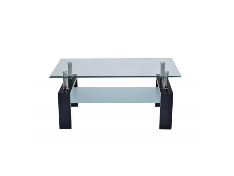 Table basse turijn rectangulaire design plateau en verre et sous-plateau en verre sablé, pieds coloris noir.