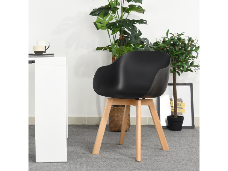 Lot de 4 chaises scandinave noir plastique pieds en bois
