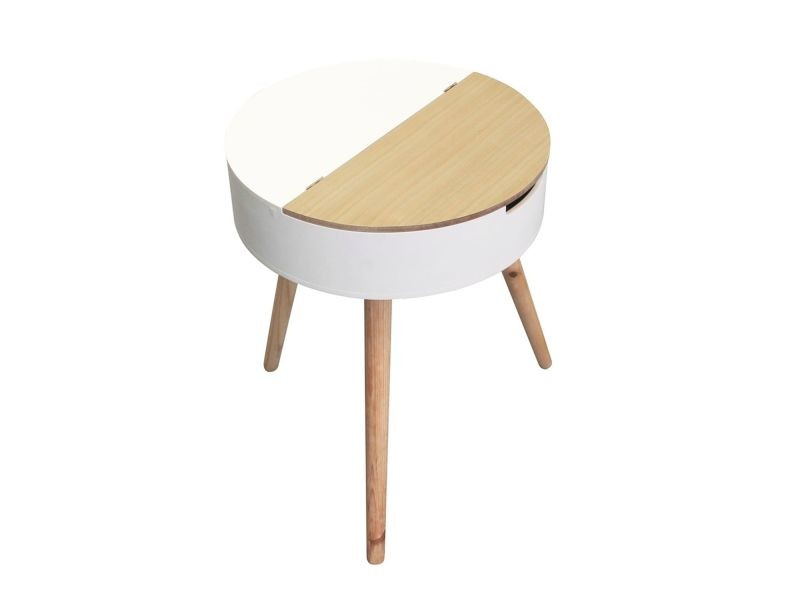 Table à café coffre scandinave - diam. 45 cm - beige et blanc