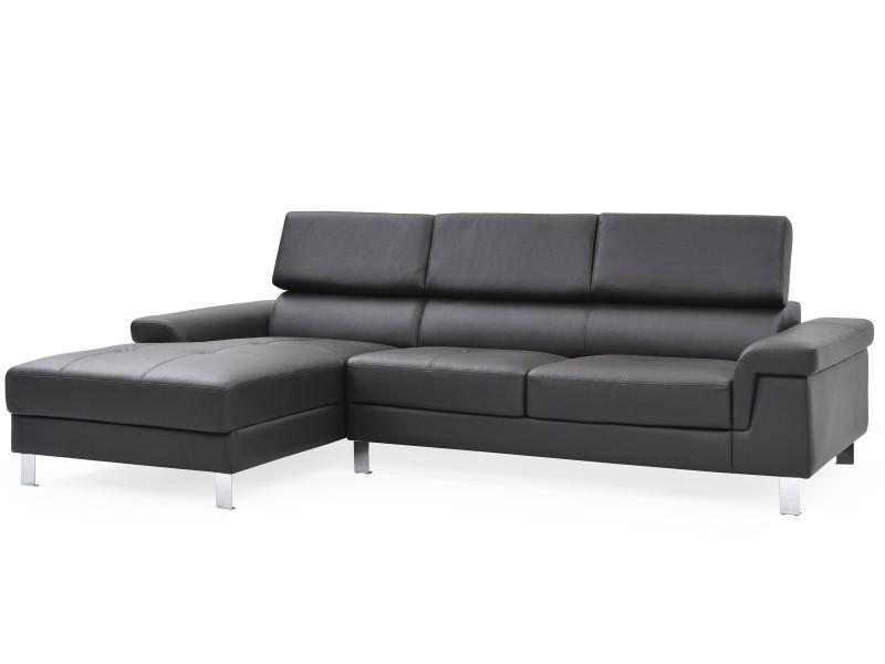 Canapé d'angle en cuir vex noir