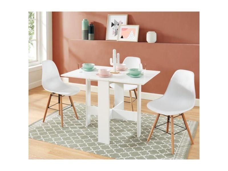 Table a manger seule juno table de séjour pliante 4 personnes - décor blanc - l 104 x 76 x 74 cm