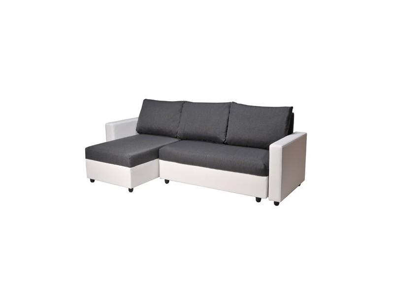 Canapé d'angle antala convertible et réversible / blanc et gris