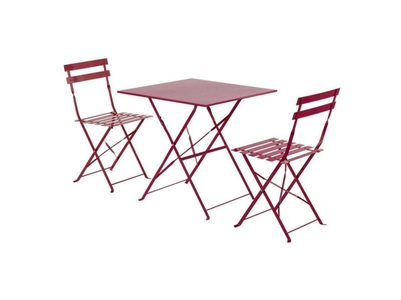 Table de jardin pliante camarque - 70 x 70 cm - rouge ...