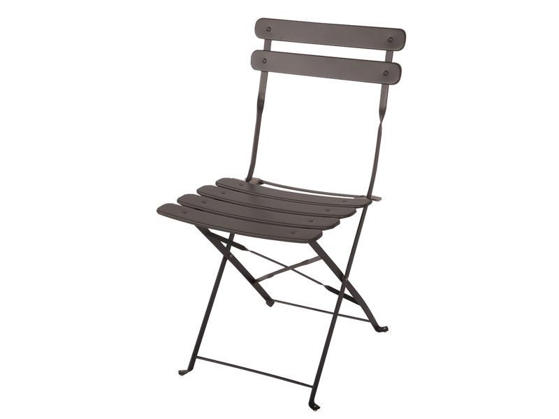 Chaise de jardin en acier époxy coloris taupe mat - dim : 42 ...