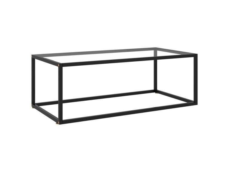 Vidaxl table à thé noire avec verre trempé 100x50x35 cm