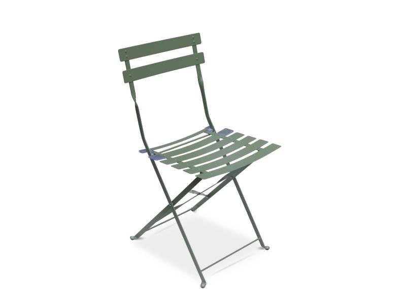 Salon de jardin bistrot pliable emilia rond vert de gris ...