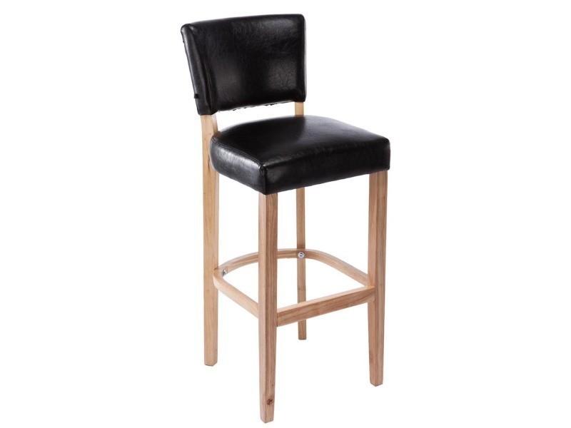 Tabouret de bar en bois avec siège en polyuréthane noir - 112 x 46 x 44 cm - pegane -