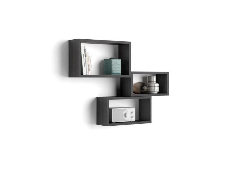 Mobili fiver, set de 3 cubes muraux, giuditta, en mélaminé, frêne noir, made in italy