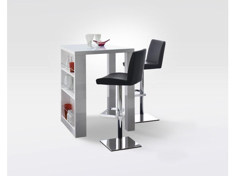 Table bar en laqué blanc brillant - l80 x h107 x p80 cm -pegane-