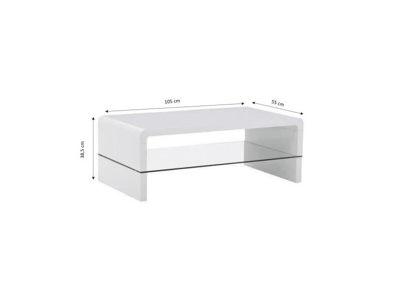en soldes 8eaac 75dcc Primis table basse contemporain laque blanc 105x55cm - Vente ...