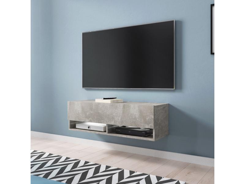 meuble tv wander 100 cm b ton avec led design. Black Bedroom Furniture Sets. Home Design Ideas